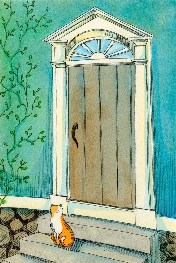 Original 4x6 Painting -- Kitty by the door