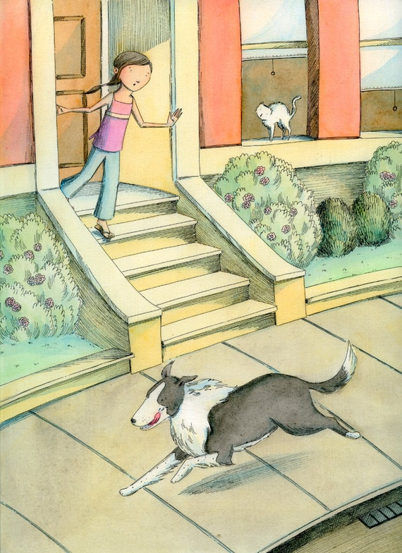 Original 9x12 Painting -- Run away Border Collie