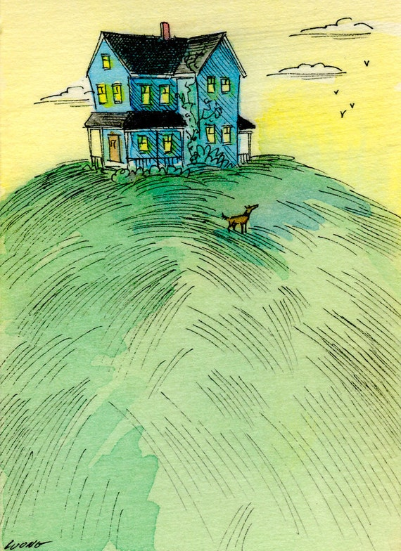 Original ACEO Painting -- House on the hill