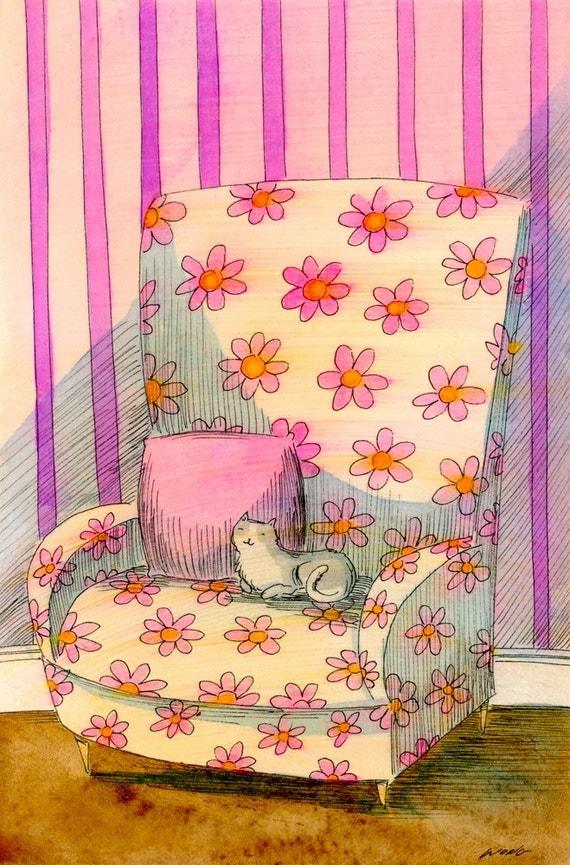 Original 4x6 Painting -- Flowered chair