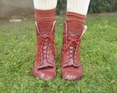 Red Grunge Granny Boots size 7 1\/2  (can also fit 6 1\/2 like me)