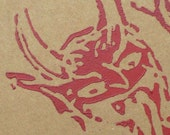 Krampus Moleskine Handprinted Red on Brown