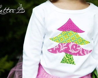 Pink and Green Christmas Tree Applique Shirt / READY TO SHIP in Size 2t / Girls holiday Tee /  Whimsy Christmas Tree shirt