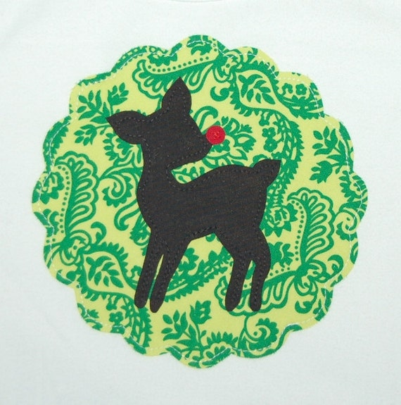 Christmas Shirt ...  Ready To Ship Girls Size 6 WHITE long sleeve ... Sale Sale ... Green Vintage Rudolph Reindeer Silhouette shirt