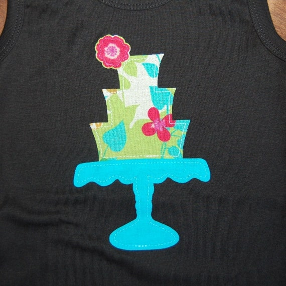 SALE ... Fairy Garden Vintage Cake Stand ...  Ready To Ship size 4T black tank top ... girls birthday shirt ... one of a kind