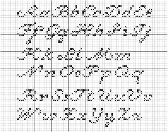 AlphaTwo A Script Cross-Stitch Alphabet By RebelleCherry