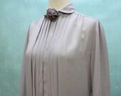 SALE - 70's Pleated Secretary Blouse / Lavender Gray / Removable Rosette Flower / Small to Medium