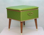 Mid Century Vanity Bench with Padded Hinged Seat - Green
