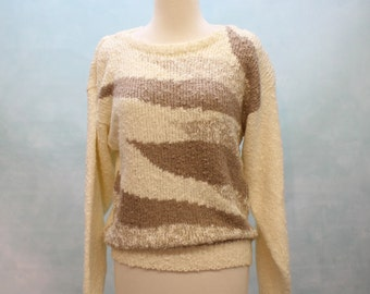 SALE - 80's Bateau Neck Sweater / Soft and Nubby / Cream and Taupe / Small