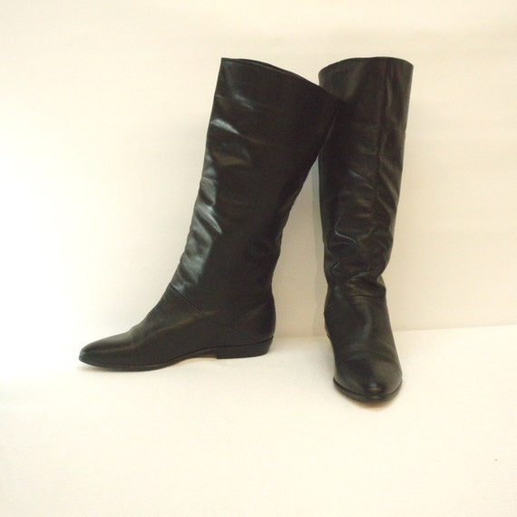 black leather pirate boots size 8 1 2