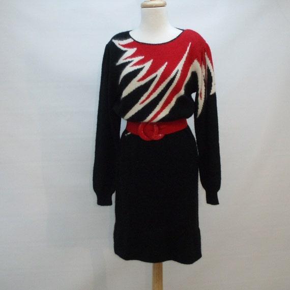 80s Sweater Dress - Flame Design - Small to Medium