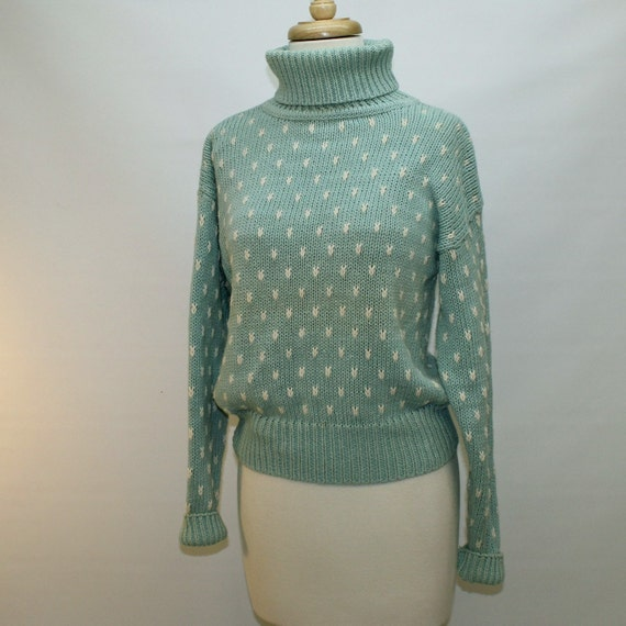 80s Cotton / Ramie Turtleneck  Sweater - Small