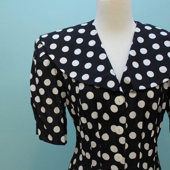 80's Does 30's Polka Dot Dress with Cape Collar -  Medium