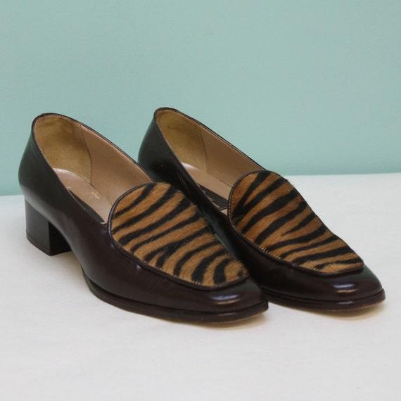 SALE - Vintage Brown Loafer / Calf Hide Vamp / Womens / Size 7