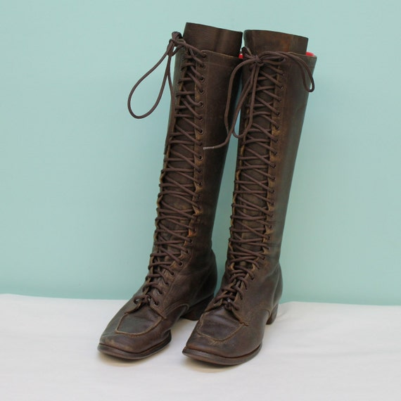Vintage Lace up Tall Brown Leather Boots Womens Size 5-6