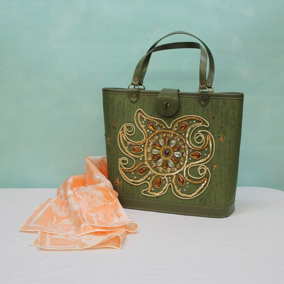 60's Collins Style Bejeweled Fabric Tote in Green