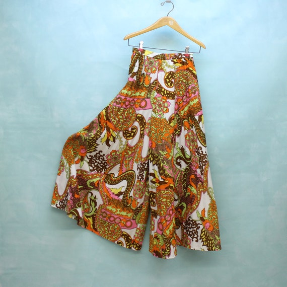 60's/70's High Waist Psychedelic Paisley Knit Hostess Pants -  XSmall