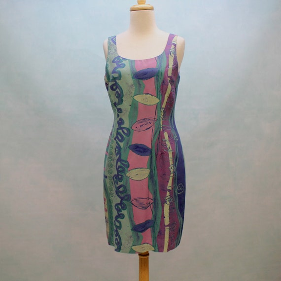 Half Price Sale - 80's  Sleeveless Shift Dress - Abstract Design - XSmall to Small