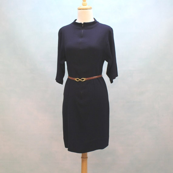 60's Zip Front Mini Rayon Wiggle Dress - XSmall to Small
