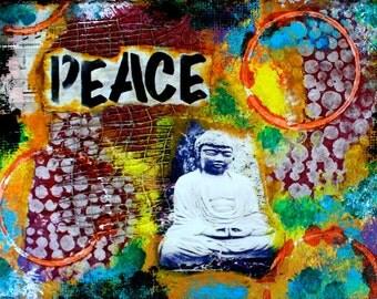 "Peace Buddha 5""x7"" Blank Greeting Card with Envelope, Zen, Buddha, Peace, Love, Spirituality, Wholesale Greeting Cards, Buddha Stationery"