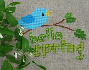 Hello Spring   Cross Stitch Pattern