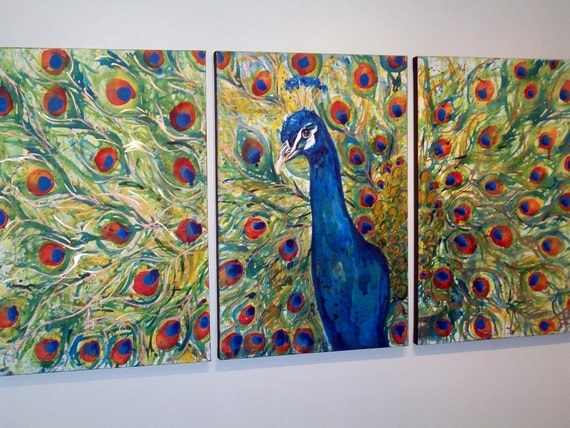 Henry the VIII Peacock Trio Original Painting by Jennifer Moreman