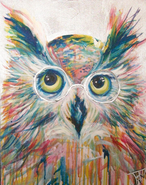 Clementine the Owl 16x20 original painting by Jennifer Moreman
