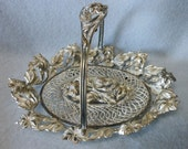 c1880s Victorian Calling Card Receiver   Basket with Lily Flowers