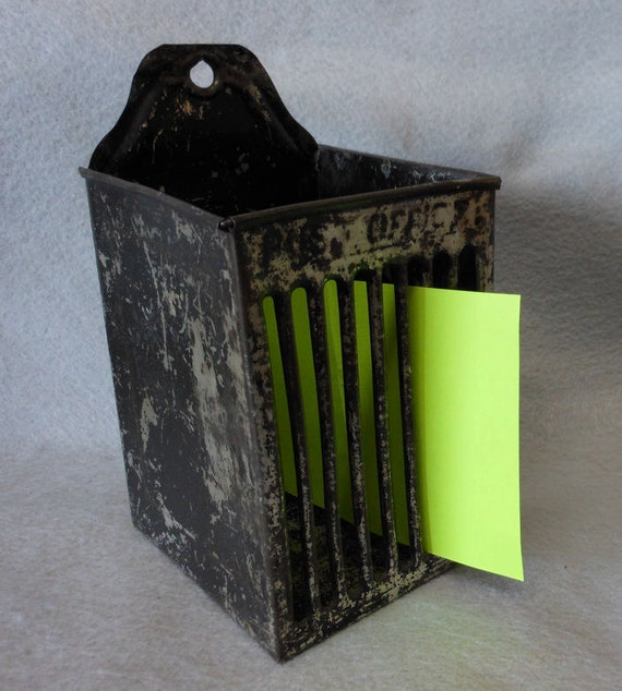 19thC Folk Art  Tin Toleware Mail Box, Post Office Mail or memo Holder