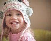 wee sock monkey hat (pink, 1 - 3 years)