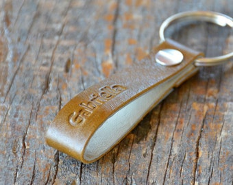 Personalized Split Pea Leather Keychain - Long and Skinny Style