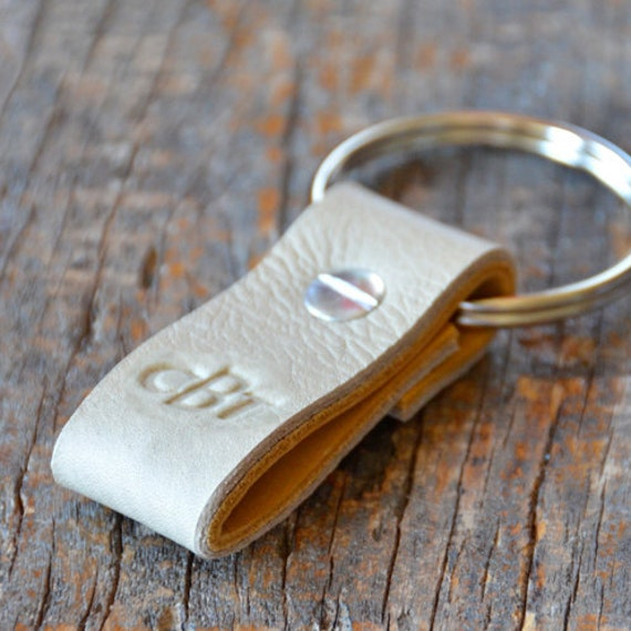 Monogrammed Taupe and Ochre Leather Keychain (Style 3)
