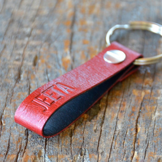 Personalized Red Leather Keychain (Style 4)