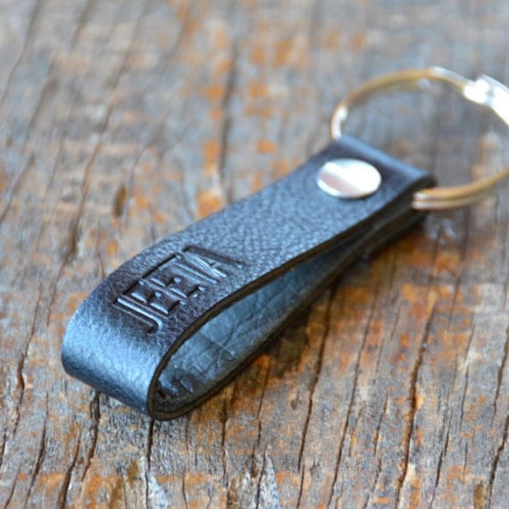 Personalized Black Leather Keychain (Style 4)