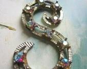 Vintage 60s Letter S Pendant Large AB Crystal Silver Metal