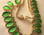 RESERVED FOR Diane Vintage Hobe French Necklace Choker Molded Leaf Rhinestone Thermoset