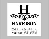 Return address labels, stickers, tags, envelope seals, square--set of 24--Scroll square