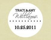 Wedding stickers, labels, seals, tags, round-- basic dot with date