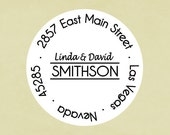 Return address labels, stickers, tags, envelope seals, round--basic with names