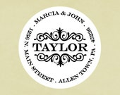 Return address labels, stickers, tags, envelope seals, round--Center scroll
