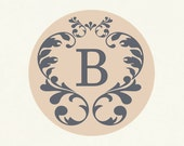 Envelope seals, stickers, labels, tags, round-- Damask initial seal