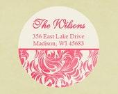 Return address labels, stickers, tags, envelope seals, round--Joyful pink