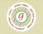Return address labels, stickers, tags, envelope seals, round--Lucky stripe