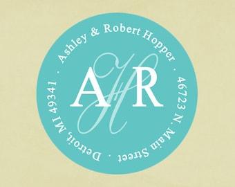 Return address labels, stickers, tags, envelope seals, round--Center script monogram