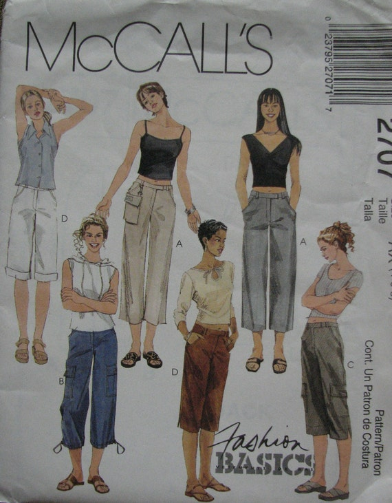 OOP McCalls 2707 Capri Cargo Pants Pattern sz 4-8