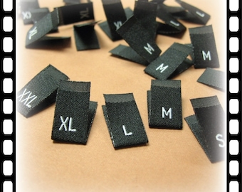 500pcs Damask Woven Size Labels ( Black background with White text ) Free Shipping