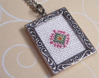The Eye 101 Cross Stitched Silver Frame Pendant Necklace - Fiber Art Jewelry