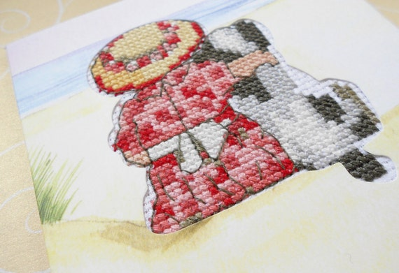 A Day at the Beach - A Girl and Her Dog Cross Stitched Greeting Note Card