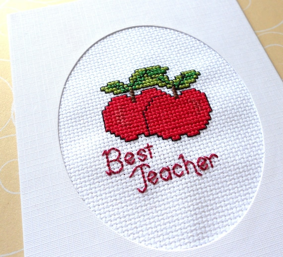 Best Teacher with Apples Cross Stitched Greeting Note Card
