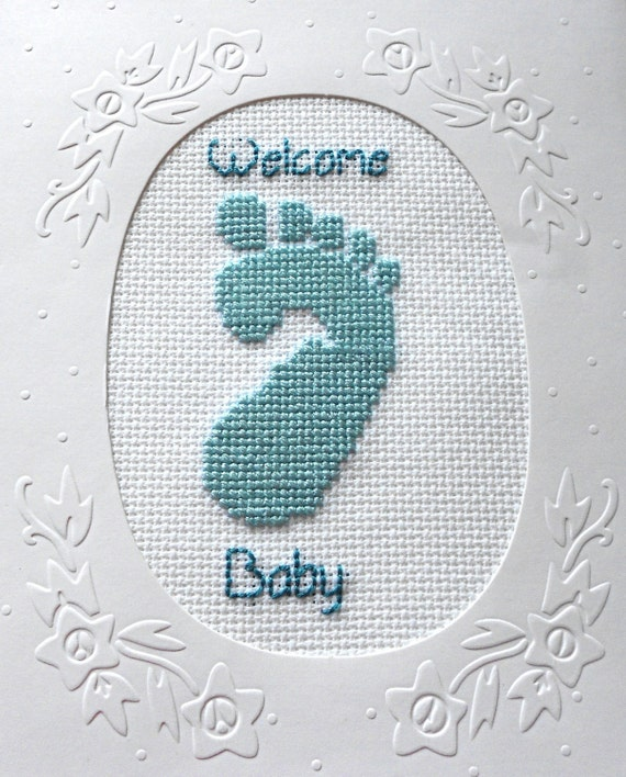 Welcome Baby Boy Cross Stitched Greeting Note Card